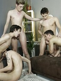 Gang Bang: Fuckin\' Wild Fuckfest Gets These Boys Splattered In Paint & Jizz!
